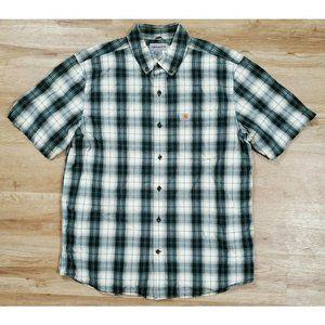 Carhartt Mens Essential Green Beige Plaid Shirt L